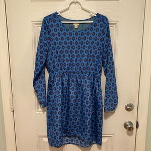 Jcrew blue printed tulip hemmed dress size 10